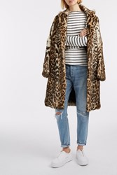 Msgm Leopard Print Fur Coat Animal
