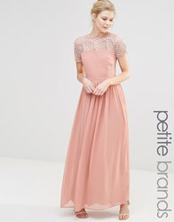Maya Petite Pleated Maxi Dress With Pearl Embellishment Dusty Pink