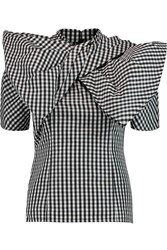 Marc By Marc Jacobs Twist Front Gingham Twill Top Black