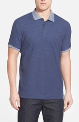Men's Robert Barakett 'Benedict' Contrast Collar Cotton Polo Deep Cobalt