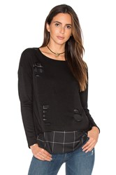Generation Love Brooklyn Plaid Sweatshirt Black