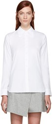 Carven White Poplin Round Collar Shirt