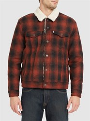 Levi's Red And Black Checked Sherpa Wool Lining Trucker Jacket