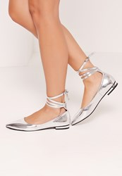 Missguided High Shine Lace Up Flat Shoes Silver