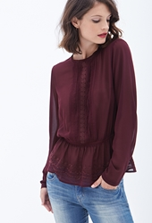 Forever 21 Sheer Embroidered Peplum Top Wine