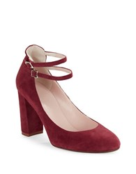 Kate Spade Baneera Ankle Strap Suede High Heels Red Chestnut