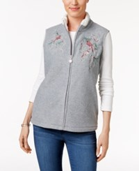 Karen Scott Petite Embroidered Vest Only At Macy's Smoke Grey Heather