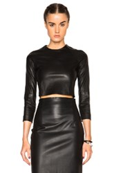 Theperfext Bronx Leather Crop Top In Black