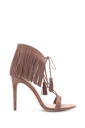 Forever 21 Genuine Suede Fringed Sandals Taupe