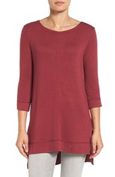 Caslonr Women's Caslon Three Quarter Sleeve Side Slit Tunic Red Cordovan