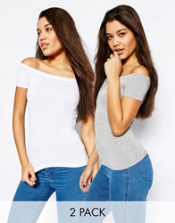 Asos Off The Shoulder Top With Short Sleeves 2 Pack Save 10 Whitegrey