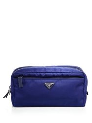 Prada Nylon Double Zip Cosmetic Case Nero Bluette