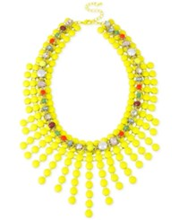 Macy's Gold Tone Yellow Bead And Glass Stone Woven Frontal Necklace