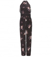 Nina Ricci Printed Silk Jumpsuit Black