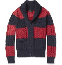 Dunhill Striped Cable Knit Cashmere Cardigan Red