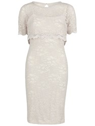 Gina Bacconi Detachable Lace Overtop And Dress Beige