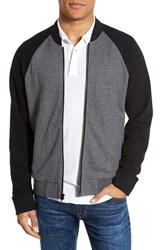 James Perse Men's Colorblock Knit Bomber Jacket Heather Charcoal Black
