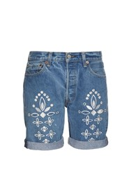 Bliss And Mischief Shadow Flower Embroidered Denim Shorts Light Denim