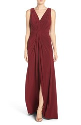 Vera Wang Women's Jersey Pleated Fit And Flare Gown
