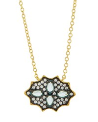 Freida Rothman Cz Crystal Shield Pendant Necklace Blue