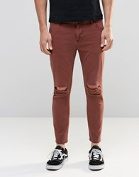 Asos Skinny Cropped Jeans With Extreme Knee Rips In Rust Friar Brown