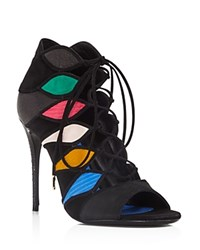 Salvatore Ferragamo Felicity Mixed Media Lace Up Open Toe Booties Nero