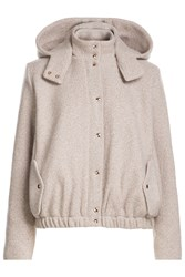 Marina Hoermanseder Wool Hooded Bomber Jacket Beige