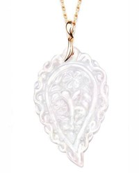 Tamara Comolli Large India Leaf Carved Pendant Necklace In 18K Rose Gold