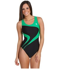 Tyr Alliance T Splice Maxback Black Green Women's Swimwear