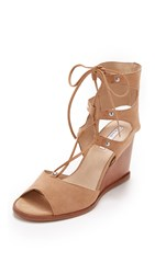 Blank Canvas Lace Up Wedge Sandals Wheat