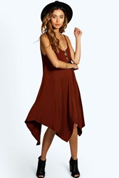 Boohoo Asymmetric Nem Strappy Swing Dress Brown