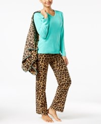 Pj Couture Plush Fleece Pajamas And Blanket Set Mint Leopard