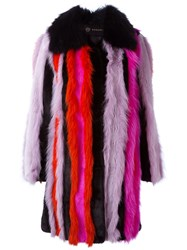 Versace Oversize Fur Stripe Coat Multicolour