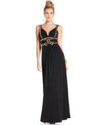 Guess Sleeveless Beaded Cutout Gown Black