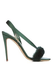 Olgana Paris L'amazone Mink Trimmed Satin Sandals Green
