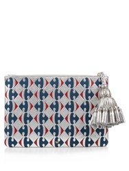 Anya Hindmarch Carrefour Georgiana Large Leather Clutch Blue Silver