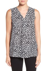 Chaus Women's 'Spotted Markings' Print Sleeveless Blouse Rich Black