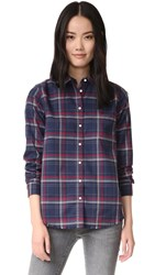 Dl1961 The Blue Shirt Shop Mercer And Spring Shirt Navy And Burgundy Plaid