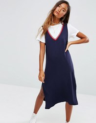 Pull And Bear Pullandbear Varsity Dress Navy