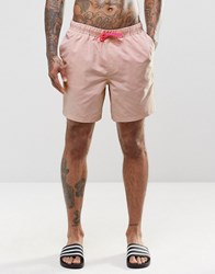 Asos Mid Length Swim Shorts In Pastel Pink With Neon Drawcord Pink