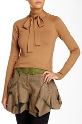 L.A.M.B. Silk Blend Bow Turtleneck Shirt Beige