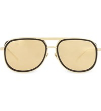 Linda Farrow Lfl236 Square Aviator Sunglasses Black And Yellow Gold