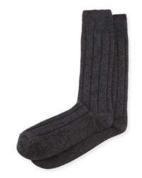 Neiman Marcus Cashmere Blend Ribbed Socks Charcoal