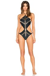 My Own Summer Punta Del Diablo Embellished Monokini Black