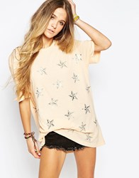 Wildfox Couture Wildfox Nautical Star Oversized T Shirt Beige