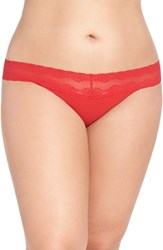 Natori Plus Size Women's 'Bliss Perfection' Thong Real Red