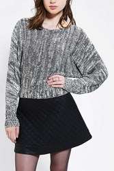 Sparkle And Fade Marl Dolman Cropped Sweater Black And White