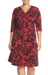 Vince Camuto Plus Size Women's 'Modern Confetti' Print Jersey Three Quarter Sleeve Wrap Dress