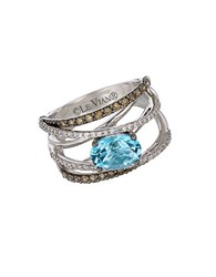 Le Vian Chocolatier Swiss Blue Topaz Vanilla Diamond Chocolate Diamond And 14K White Gold Ring 0.7 Tcw