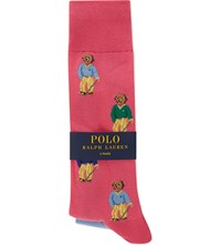 Ralph Lauren Golfer Bear Cotton Socks Pack Of Two Pink Sherbert